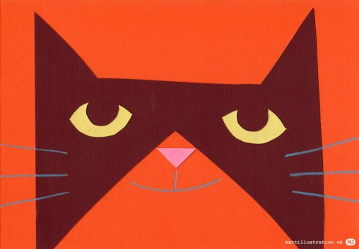 Paper cut collage illustration of a cat
