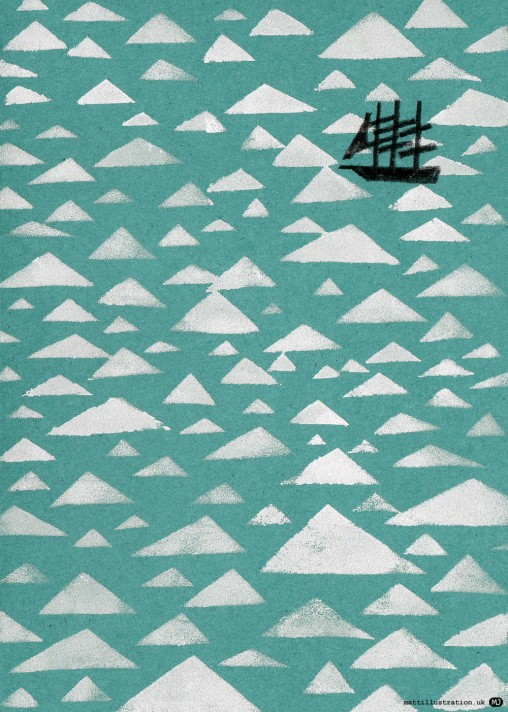 Stencil print illustration of tall ship in an icy sea