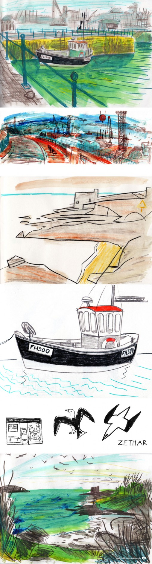 Sketches of Falmouth Harbour, docks and fishing boats