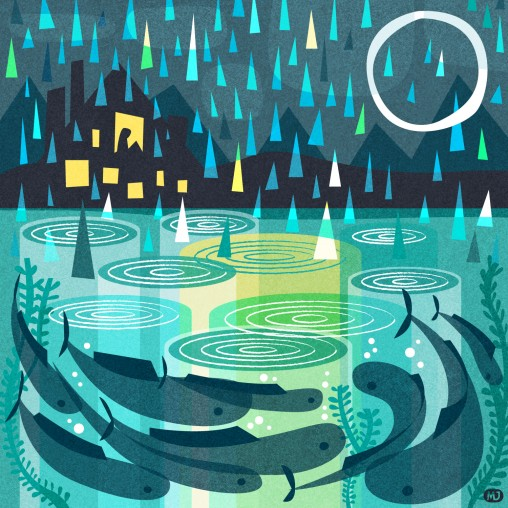 Illustration of the sea at night with fish and rain drops by Matt Johnson