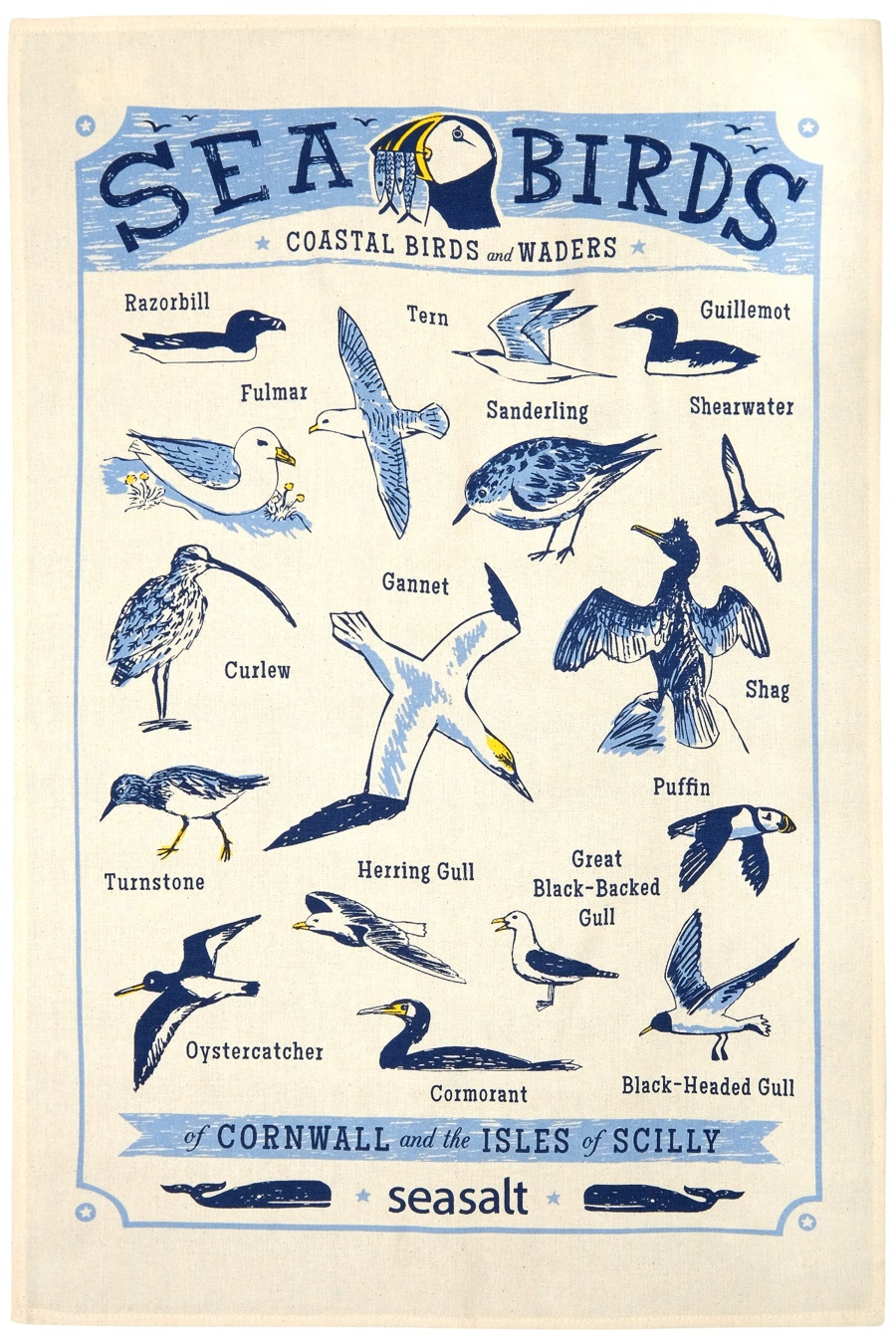 Sea birds, coastal birds and waders of Cornwall and the Isles of Scilly. Printed Tea towel, illustration by Matt Johnson for Seasalt Cornwall
