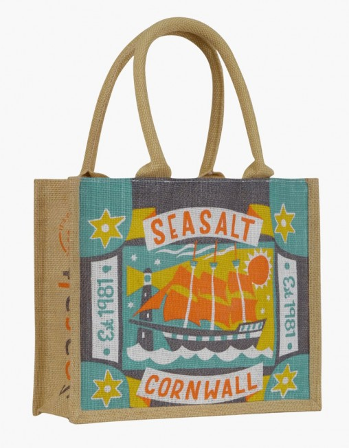 Ship matchbox illustration jute bag by Matt Johnson