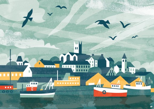 Penzance Harbour illustration by Matt Johnson