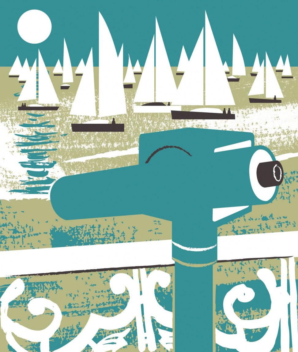 Telescope and yachts print design by Matt Johnson
