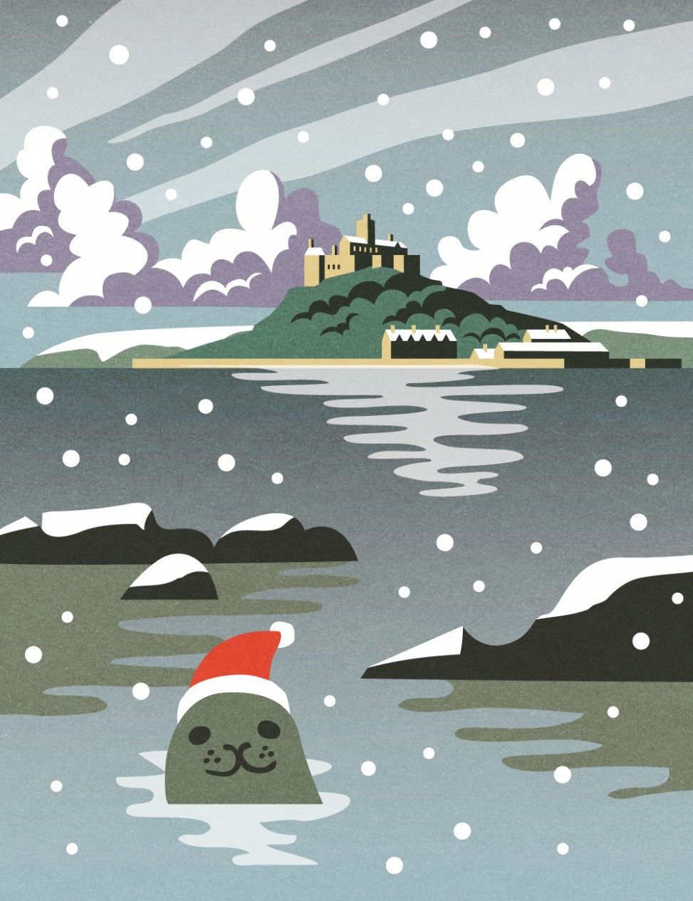 St Michael's Mount Christmas Seal illustration by Matt Johnson for Seasalt Cornwall
