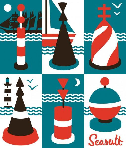 Cardinal Buoys nautical print illustration by Matt Johnson for Seasalt Cornwall
