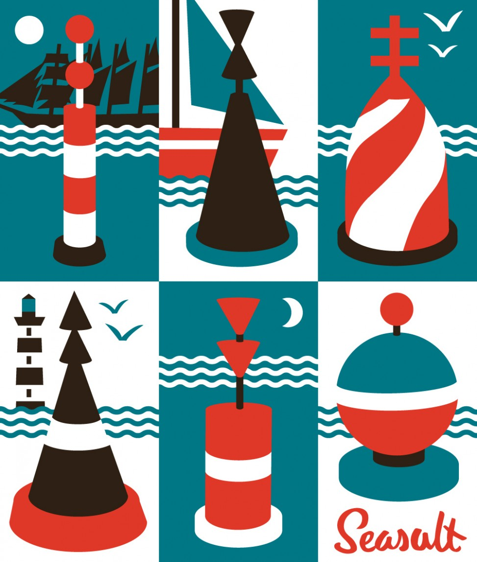 Cardinal Buoys nautical print illustration by Matt Johnson for Seasalt Cornwall