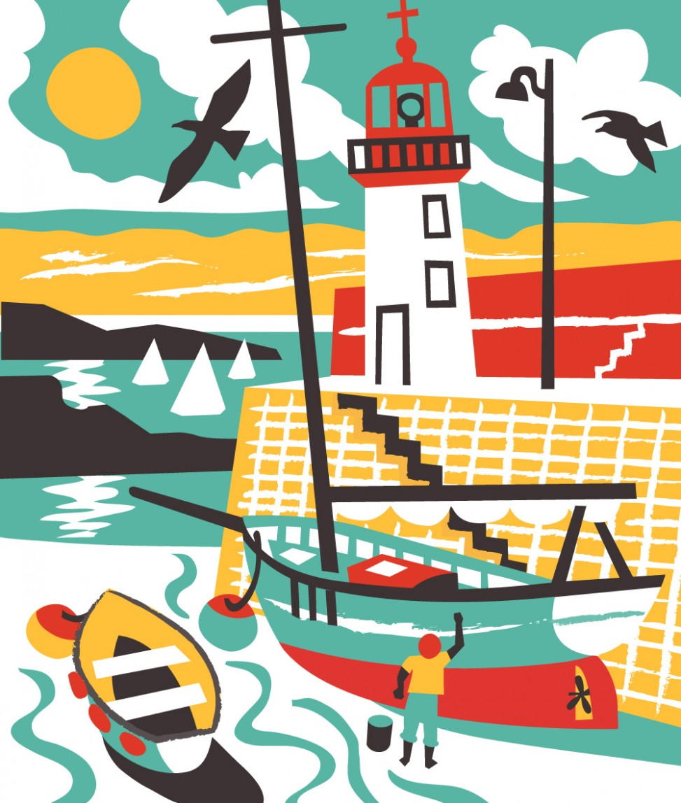 Erquay Harbour sailing boat illustration by Matt Johnson for Seasalt Cornwall