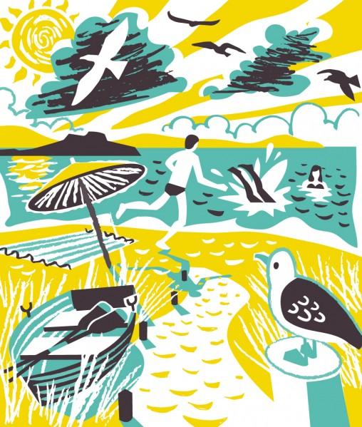 Sea swimming print by Matt Johnson for Seasalt Cornwall