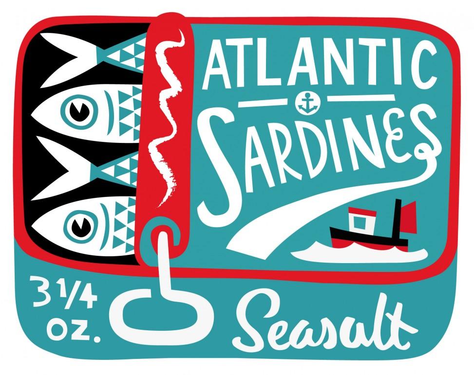 Sardine tin illustration by Matt Johnson for Seasalt Cornwall