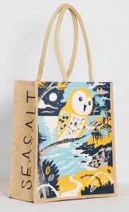Barn owl and coastal landscape jute bag print by Matt Johnson for Seasalt Cornwall