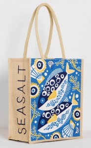 Quimper pottery style fish illustration for jute bag. By Matt Johnson for Seasalt Cornwall AW17 collection
