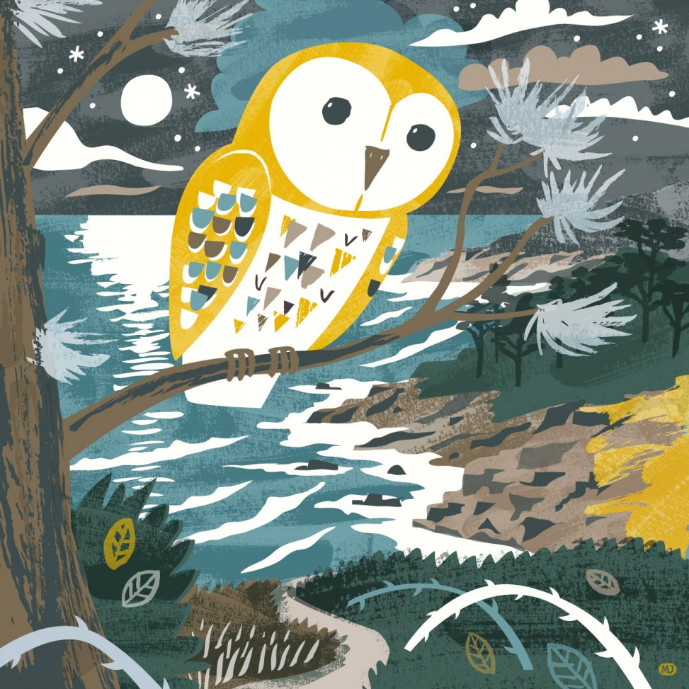 Barn owl and coastal landscape illustration by Matt Johnson