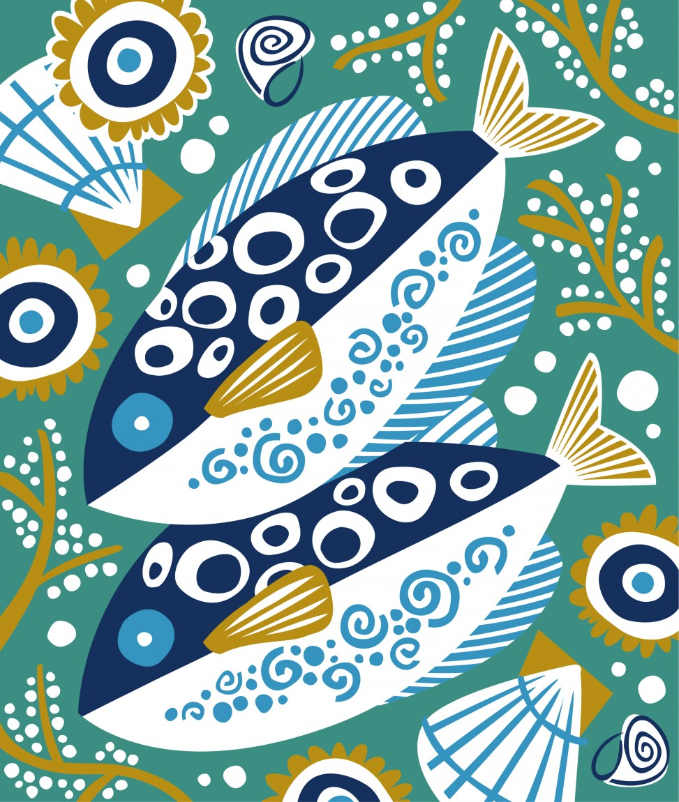 Quimper pottery fish print by Matt Johnson for Seasalt Cornwall