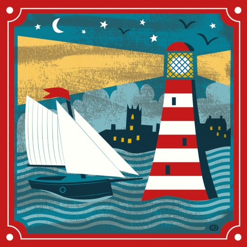 Boat and lighthouse matchbox art card by Matt Johnson