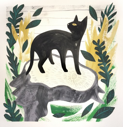 Black cat on tree stump paper cut illustration by Matt Johnson