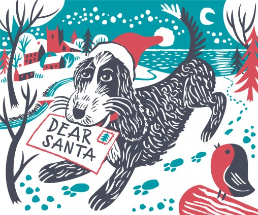 Christmas illustration of Pepe the cockapoo with Santa letter by Matt Johnson for Seasalt Cornwall