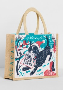 Chistmas jute bag with illustration of Pepe the cockapoo with Santa letter by Matt Johnson for Seasalt