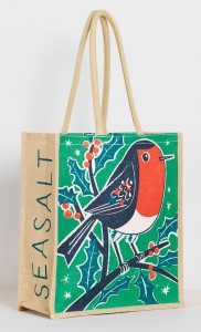 Christmas robin print on jute bag by Matt Johnson for Seasalt Cornwall