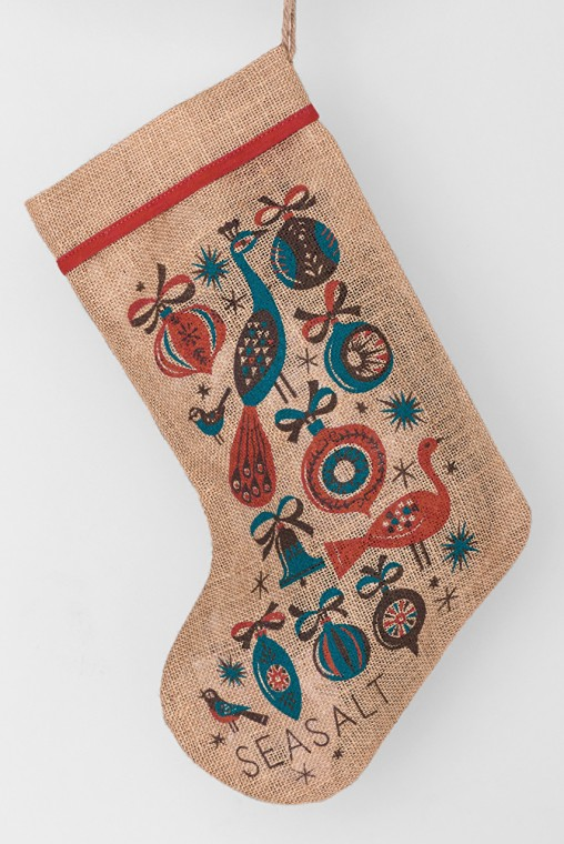 Christmas stocking with vintage style birds and baubles print by Matt Johnson for Seasalt Cornwall