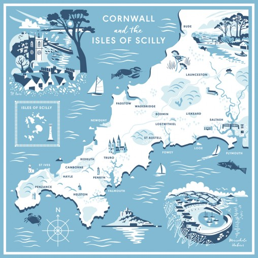 Illustrated map of Cornwall scarf by Matt Johnson for Seasalt