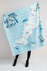 Giant scarf withillustrated map of Cornwall by Matt Johnson for Seasalt