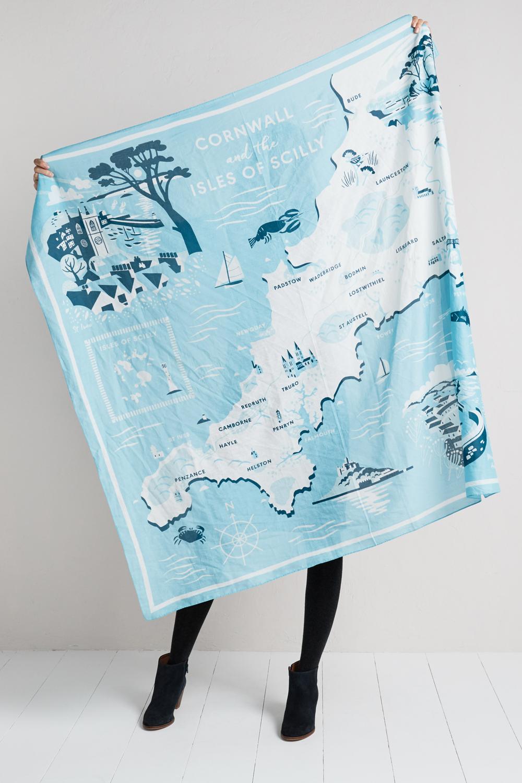 Cornwall illustrated map scarf matt illustration giant scarf withillustrated map of cornwall by matt johnson for seasalt gumiabroncs Images