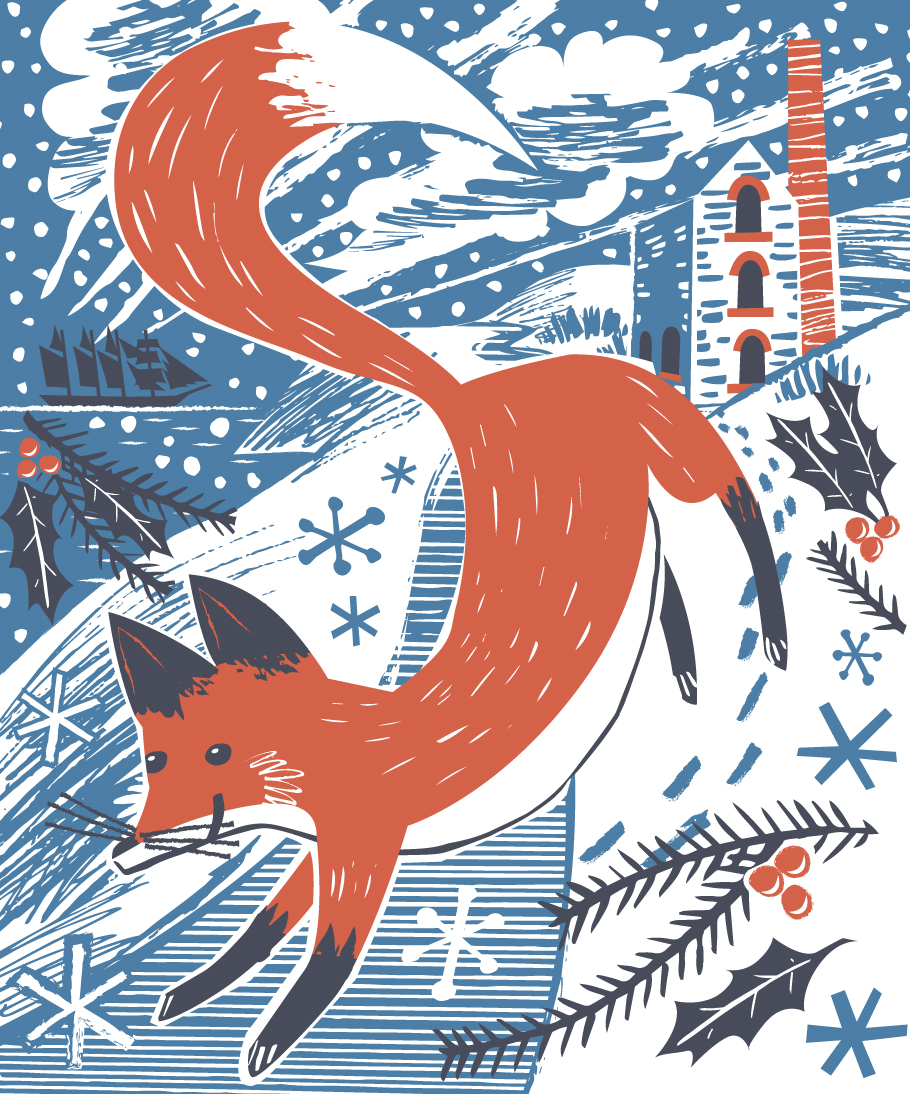 Fox in snow festive illustration by Matt Johnson for Seasalt Cornwall