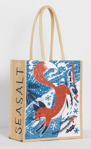 Fox in snow festive jute bag print for Seasalt Cornwall