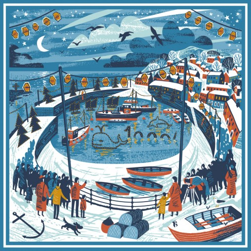Mousehole lights illustration scarf print by Matt Johnson for Seasalt Cornwall