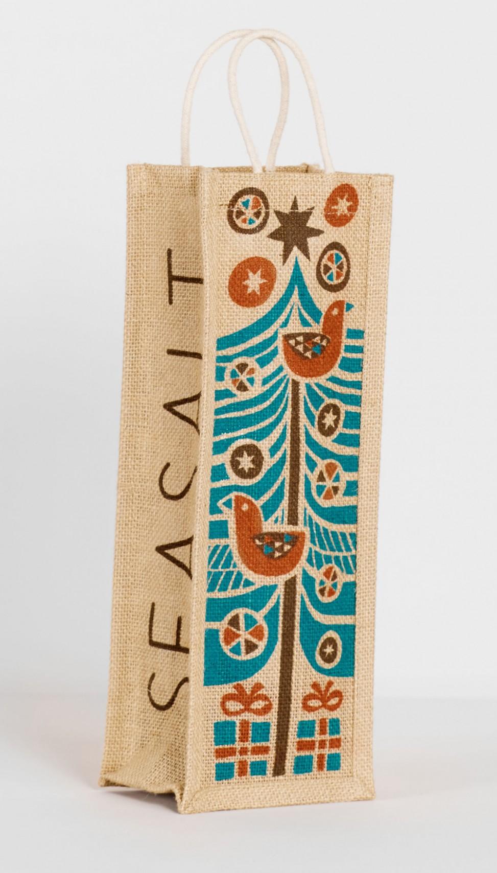 Wine bottle jute bag with folk art skandi style Christmas tree print by Matt Kohnson for Seasalt Cornwall