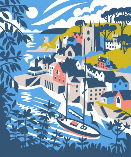 Fowey travel poster style illustration by Matt Johnson for Seasalt Cornwall