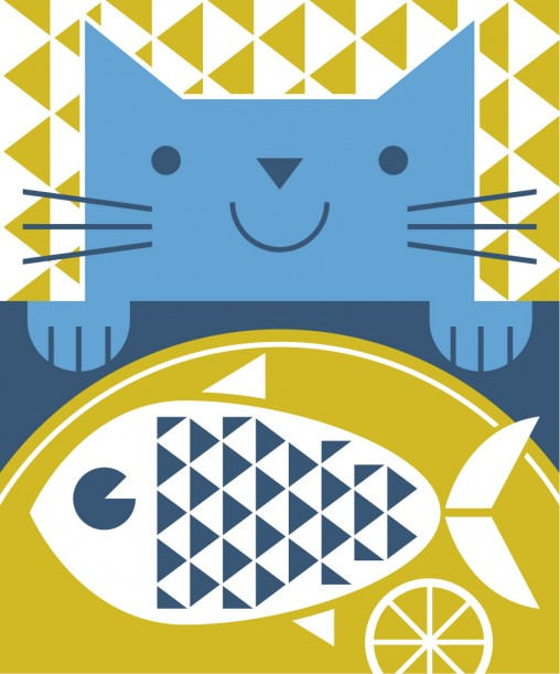 Hungry cat and fish geometric illustration. By Matt johnson for Seasalt Cornwall jute bag.