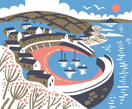 Mousehole Harbour print illustration by Matt Johnson for Seasalt Cornwall.