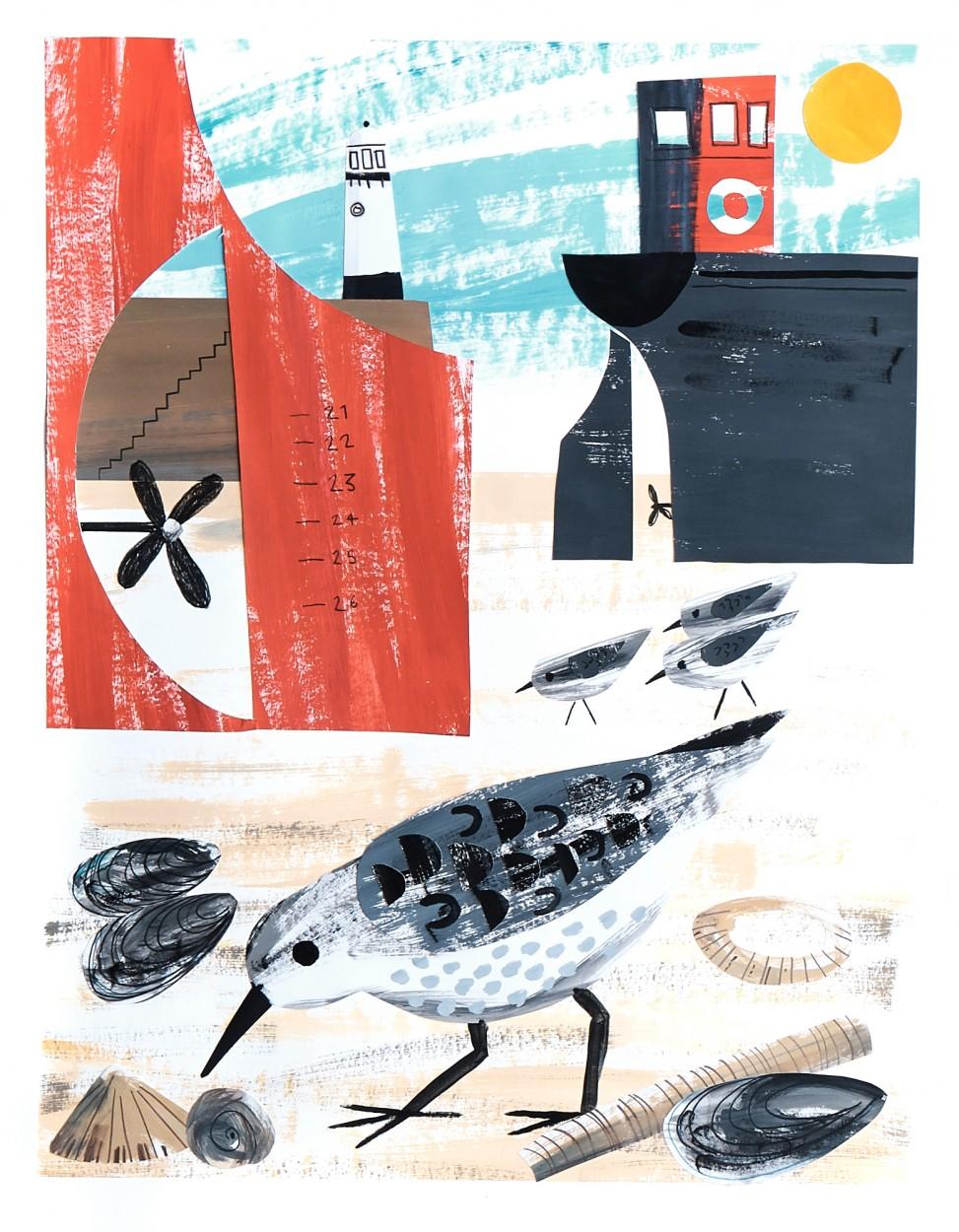 St Ives Sanderlings paper cut illustration by Matt Johnson for Seasalt Cornwall