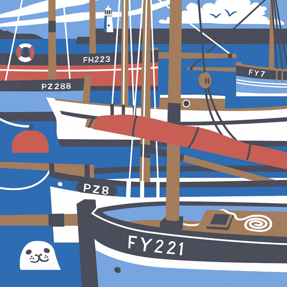 Vintage travel poster style illustration of lugger fishing boats moored in Mevagissey Harbour. By Matt Johnson for Seasalt Cornwall canvas tote bag print.