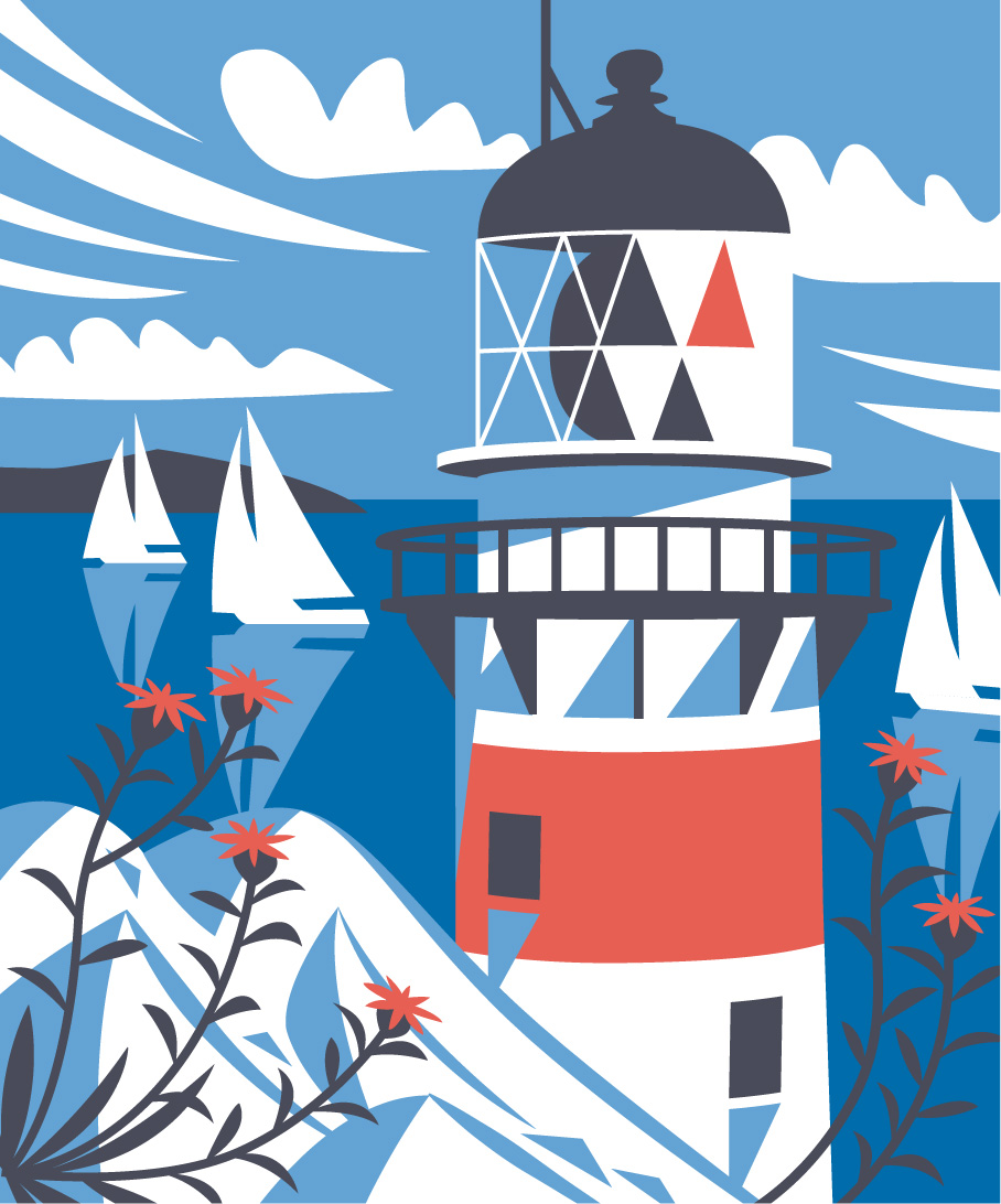 Geo lighthouse nautical illustration by Matt Johnson for Seasalt Cornwall