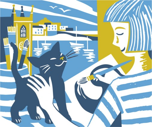 Illustration of kitten and St Ives painter by Matt Johnson for Seasalt Cornwall