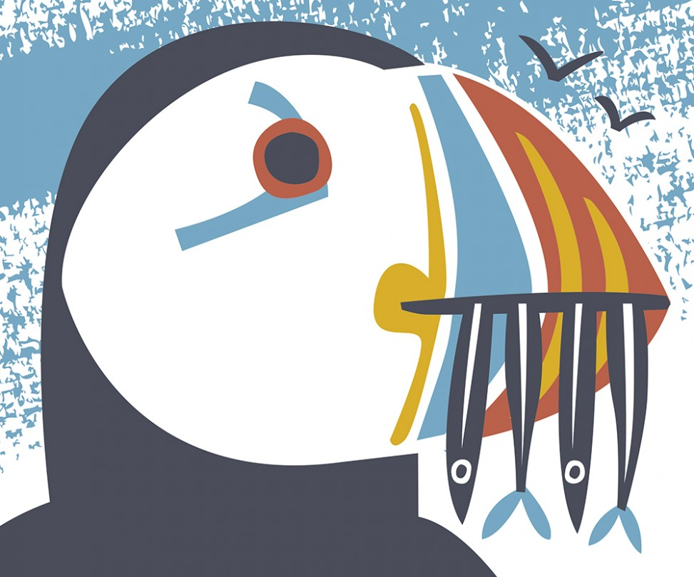 Hungry Puffin illustration by Matt Johnson for Seasalt Cornwall