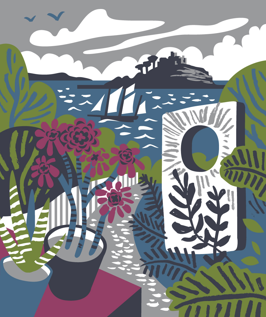 "View of St Michael's Mount from Tremenheere Sculpture Garden with succulents and ""Monolith"" by Darren Hawkes. Illustration by Matt Johnson for Seasalt Cornwall."