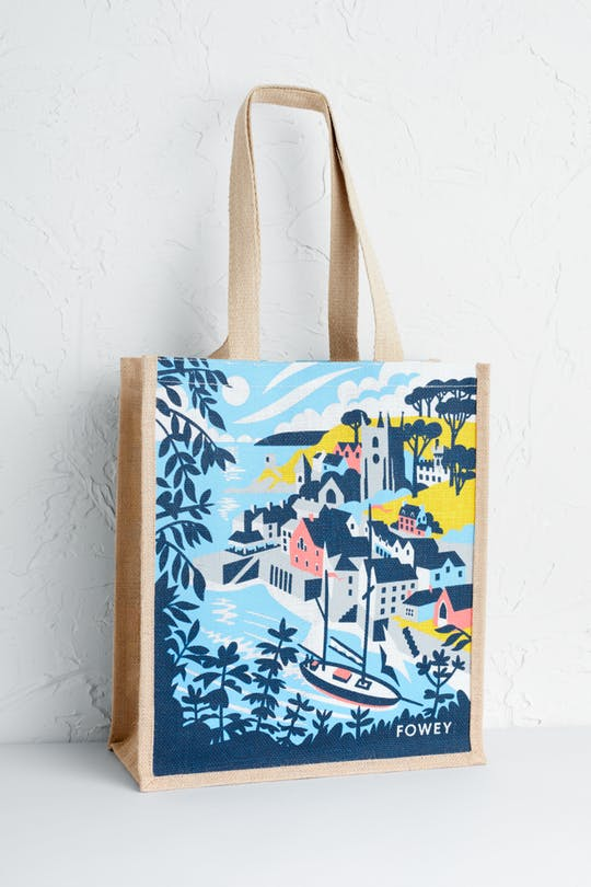 Fowey Jute Bag Print by Matt Johnson