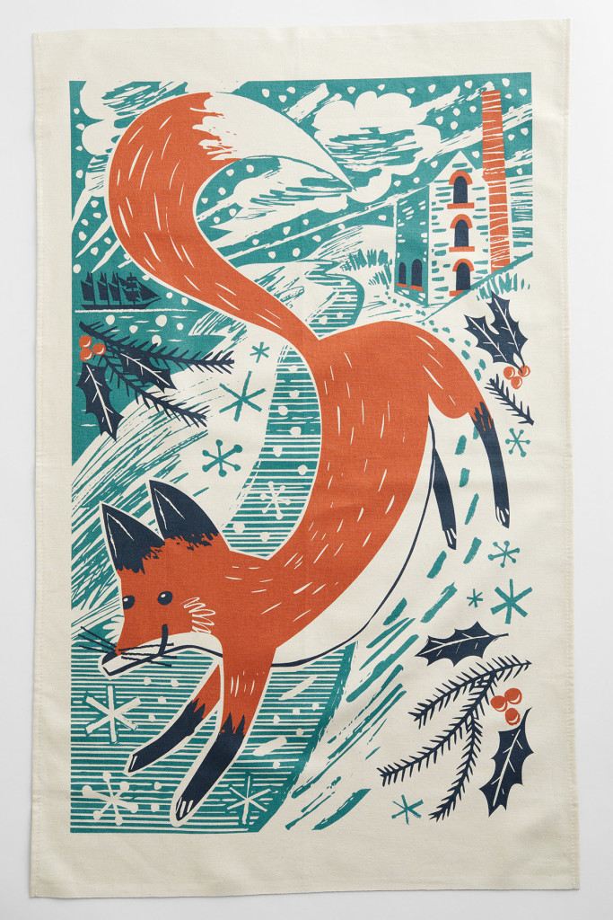 Fox in the Snow tea towel print by Matt Johnson