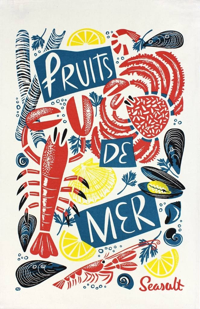 Fruits de Mer teatowel print with crab, lobster, mussels. clam and scallops by Matt Johnson