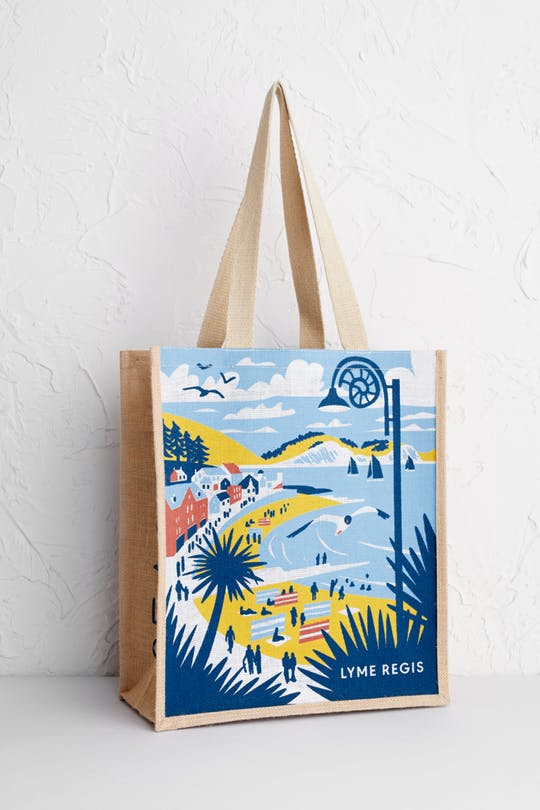 Lyme Regis Jute bag Print by Matt Johnson