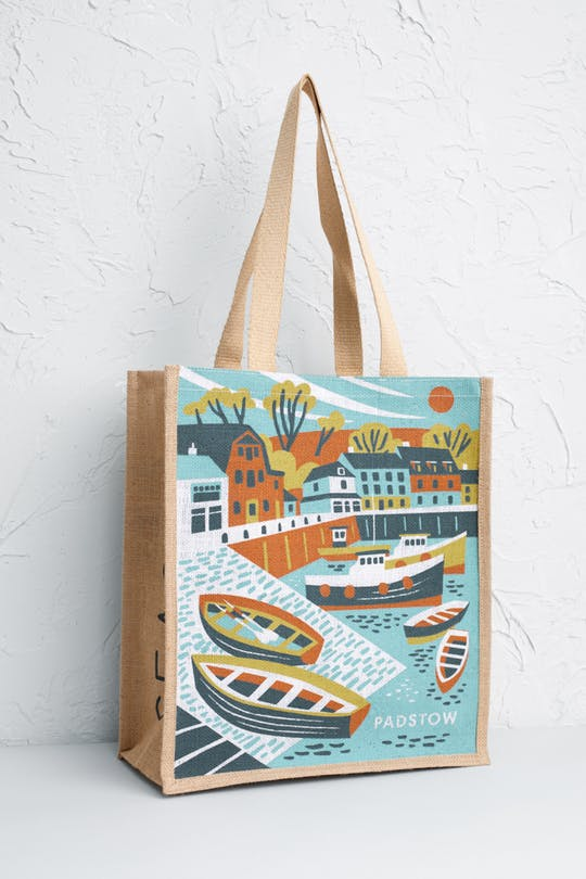 Padstow Jute bag Print by Matt Johnson