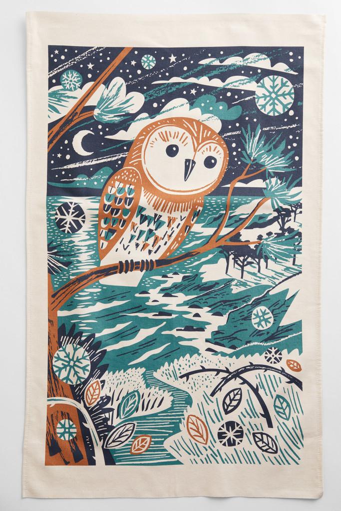 Winter Owl Tea Towel Print by Matt Johnson
