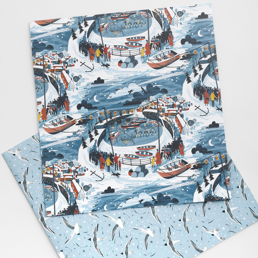 Mousehole Lights Wrapping Paper - illustration by Matt Johnson for Seasalt Cornwall