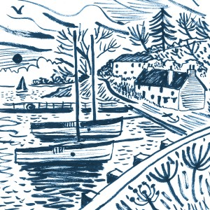 Sketch of Restronguet Creek with the Pandora Inn and Falmouth working boats moored up. Print design by Matt Johnson for Seasalt Cornwall.