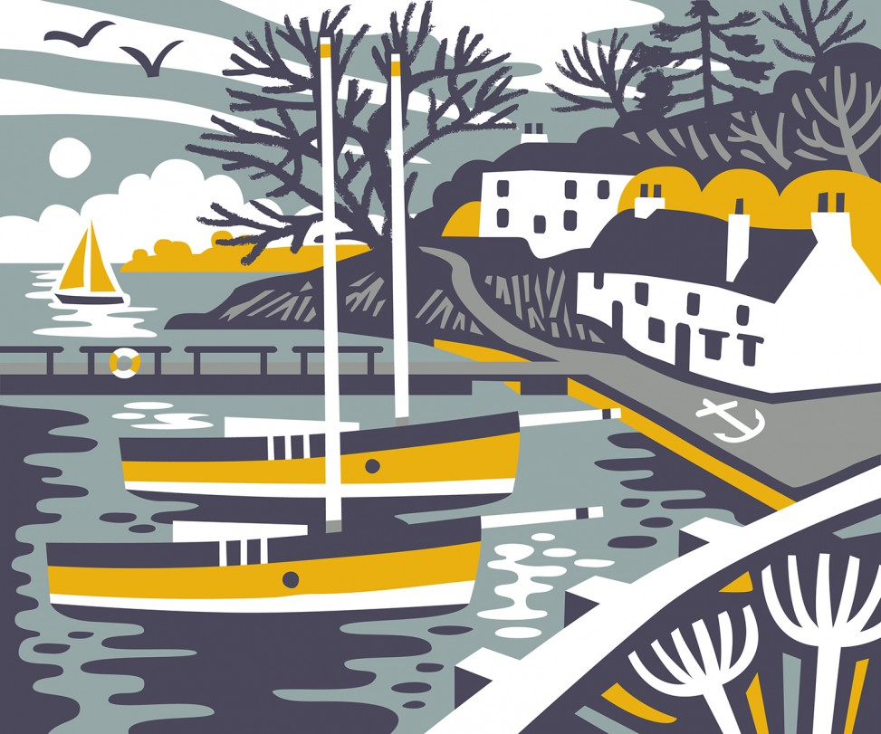 View of Restronguet Creek with the Pandora Inn and Falmouth working boats moored up. Print design by Matt Johnson for Seasalt Cornwall Jute bag.