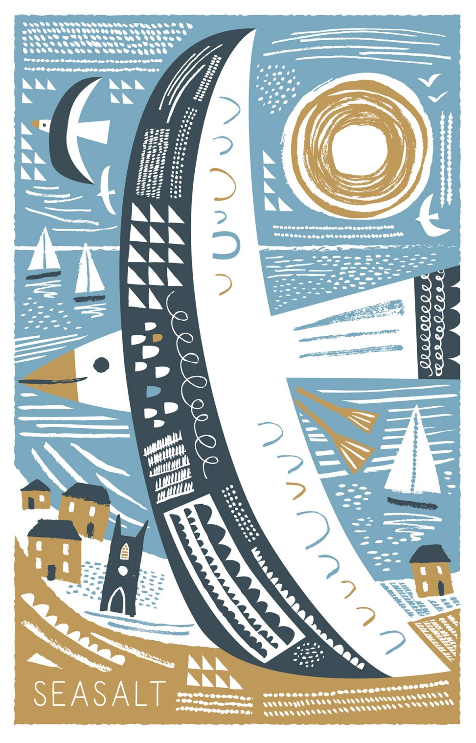 Gliding seagull illustrated tea towel print by Matt Johnson for Seasalt Cornwall